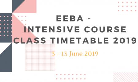 EEBA – Intensive Course Class Timetable 2019