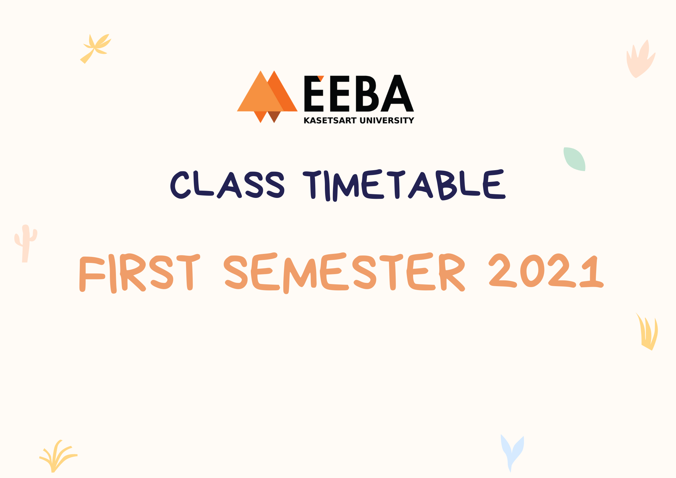 Class timetable for Semester 1, Academic Year 2021